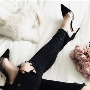 Zara Black pumps with clear detail